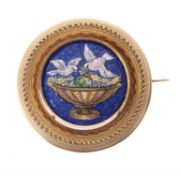 A mid 19th century Italian gold micro mosaic brooch
