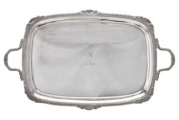 A Victorian silver oblong twin handled tray