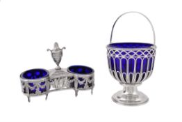 An 18th century French silver double salt cellar