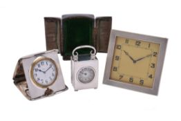 Three silver mounted desk timepieces