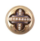 A late Victorian gold and half pearl brooch