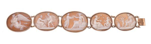 An 1840s shell cameo bracelet