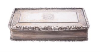 An early Victorian silver rectangular snuff box