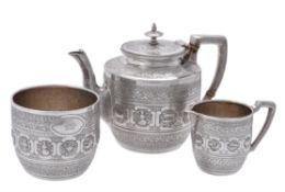 Y A Victorian Indian style three piece tea set by David Crichton Rait