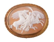 A mid 19th century shell cameo of Nike (Victory) guiding four horses