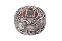 An Irish silver and enamel circular box
