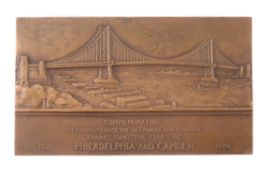 USA, Delaware River Bridge completed 1926, uniface bronze plaquette medal for the New York Medallic