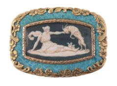 A Continental painted miniature brooch