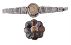 A late Victorian silver mounted Scottish agate brooch