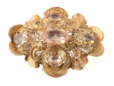 A mid 19th century Continental gold and foiled quartz brooch