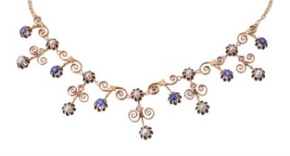 An Edwardian sapphire and half pearl fringe necklace