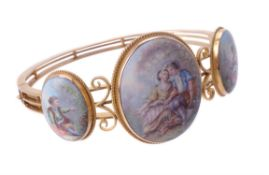 Y A late 19th century Swiss enamel hinged bangle