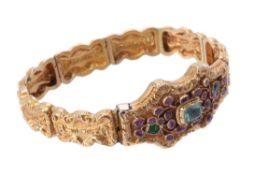 A Regency gold, ruby and emerald bracelet