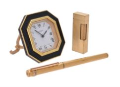 Cartier, gilt and lacquer alarm clock