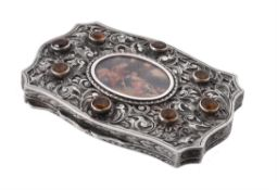 An Italian silver shaped rectangular powder compact