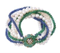 A 1960s cultured pearl, emerald and sapphire bracelet by Verdura