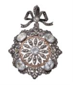 A 19th century French rock crystal, peridot and pyrite flower pendant