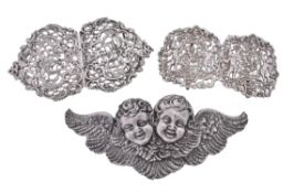Three late Victorian silver two-part buckles