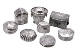 Eight various silver small boxes