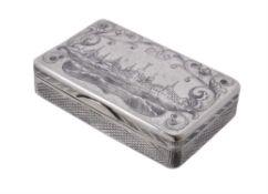 A Russian silver and niello rectangular snuff box