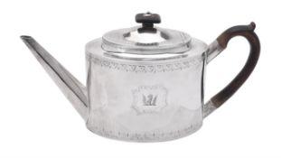 A George III silver oval tea pot by John Robins