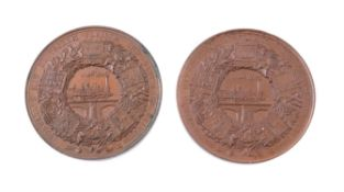 Germany, Berlin, Industrial Exhibition 1844, bronze medals (2) by Loos, Lorenz and Schilling