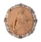 A mid 19th century lava cameo brooch of Ceres