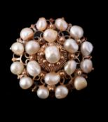 A mid 19th century Continental pearl cluster brooch