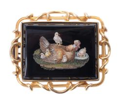 A mid 19th century micro mosaic brooch