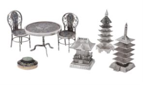 A collection of Chinese export silver and silver coloured toys