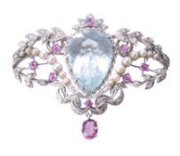 An aquamarine, ruby and cultured pearl brooch