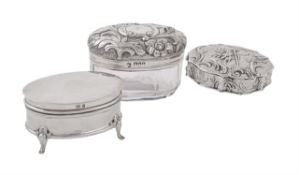 Three silver or silver mounted boxes