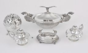 A collection of silver coloured items