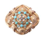 A mid Victorian turquoise, pearl and diamond brooch