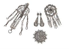 A collection of Georgian cut steel jewellery