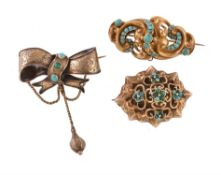 Three Victorian gold turquoise brooches
