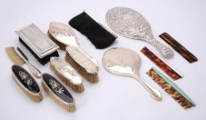 Y A collection of silver and silver coloured mounted dressing table items