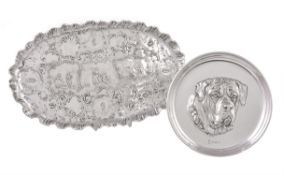 A German silver shaped oval dressing table tray