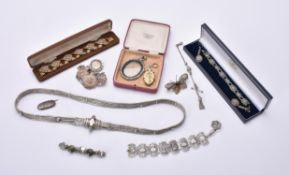 Y A collection of Victorian and later silver coloured jewellery