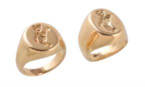 Two teddy bear signet rings