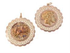 A gold coloured medallion pendant