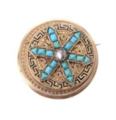 A Victorian turquoise and enamel locket brooch