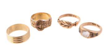 A late Victorian 9 carat gold buckle ring