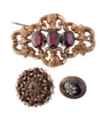 A late 19th century garnet brooch