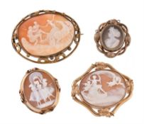 A Victorian shell cameo brooch of Venus