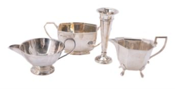 A silver octagonal sugar basin by Viner's Ltd.