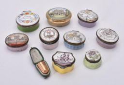 A collection of nine enamel boxes