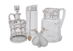 A collection of silver mounted glass
