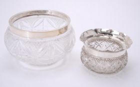 An Edwardian silver mounted cut glass circular bowl by George Nathan & Ridley Hayes