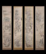 A set of four Japanese painted panels
